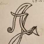 Voici le croquis des lettres A et J. C'est le projet pour la chevalière et le pendentif suivant.