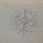 Croquis, réalisés par la cliente, des pendentifs à initials suivant.