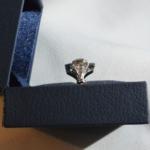 Voici une bague or blanc à l'ancienne sertie d'un diamant de 1.01 Ct en sont centre et de 22 petits dans l'entourage et les palmettes.